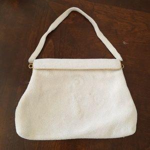 Vintage white beaded evening bag